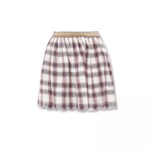 mona check skirt logo