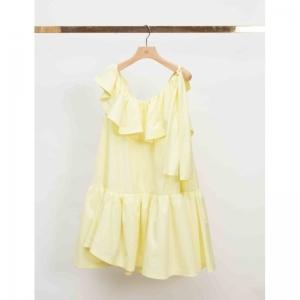 SL RUFFLED-NECKLINE TENT DRESS logo