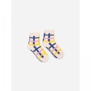 Blue Checkered Short Socks logo