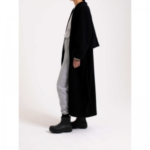 Coat V Neck Long Soft Wool 0001 BLACK