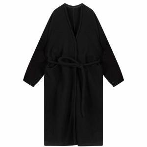 Coat V Neck Long Soft Wool logo