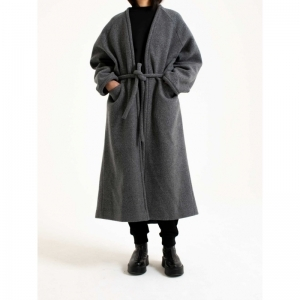 Coat V Neck Long Soft Wool 0021 GREY