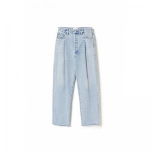 fold waistband jean in sidelin logo